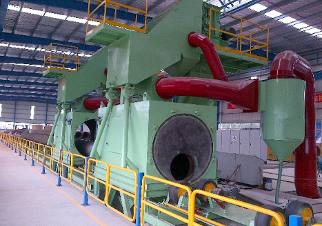 The outer wall of the steel tube blasting machine