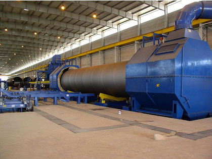 Large diameter steel pipe wall blasting machine
