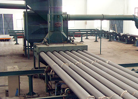 Steel pipe inner wall tubular shot blasting anticorrosion line
