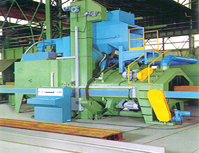 Sheet material through type shot blasting treatment line